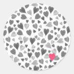 Cute romantic grey pink hand drawn hearts