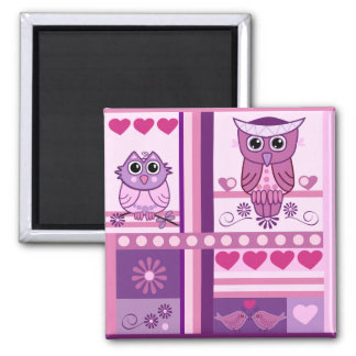 Cute romantic magnet with owls