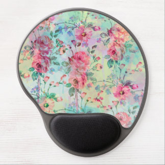 Cute romantic roses floral paint watercolors gel mouse mat