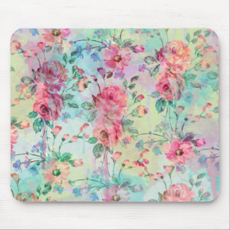 Cute romantic roses floral paint watercolors mouse mat