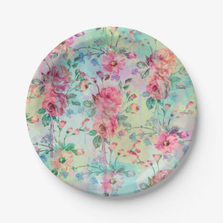 Cute romantic roses floral paint watercolors paper plate