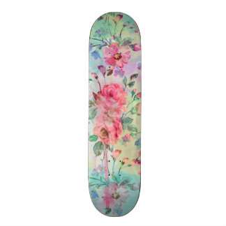 Cute romantic roses floral paint watercolors 21.6 cm skateboard deck