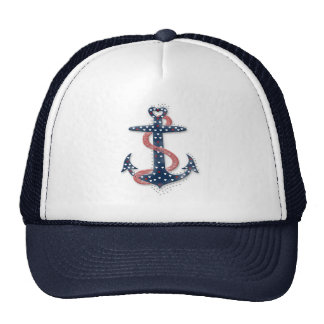 Cute romantic valentines hearts anchor cap
