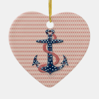 Cute romantic valentines hearts anchor christmas ornament