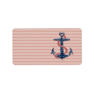 Cute romantic valentines hearts anchor label