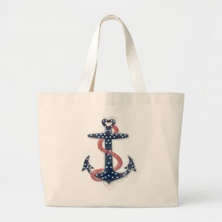 Cute romantic valentines hearts anchor large tote bag