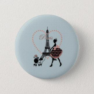 Cute romantic vintage girl silhouette walking 6 cm round badge