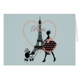 Cute romantic vintage girl silhouette walking card