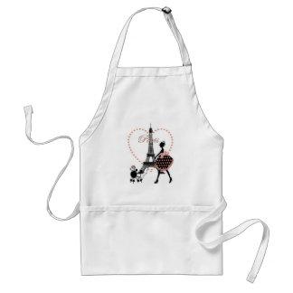 Cute romantic vintage girl silhouette walking standard apron