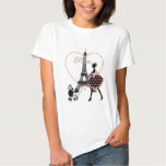 Cute romantic vintage girl silhouette walking t-shirts