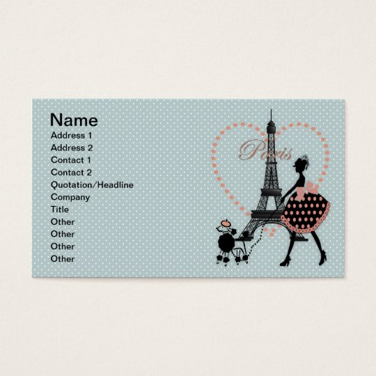 Cute romantic vintage girl  walking French poodle Business Card