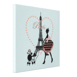 Cute romantic vintage girl  walking French poodle Canvas Print