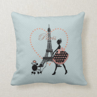 Cute romantic vintage girl  walking French poodle Cushion
