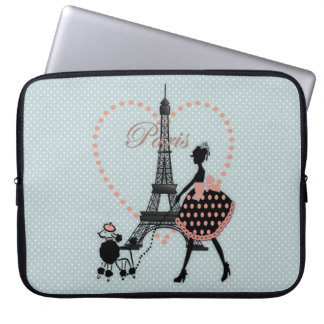 Cute romantic vintage girl  walking French poodle Laptop Sleeve