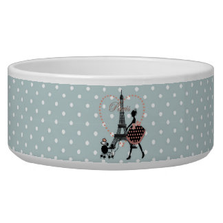 Cute romantic vintage girl  walking French poodle Pet Water Bowls