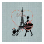 Cute romantic vintage girl  walking French poodle Poster