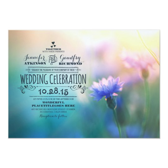cute romantic wildflowers wedding invitations