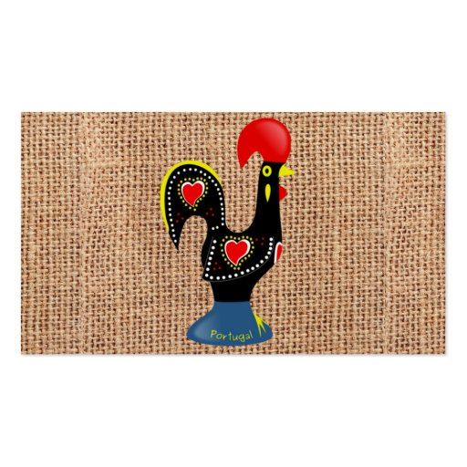 Cute Rooster Barcelos Portugal Burlap background Business Card Template