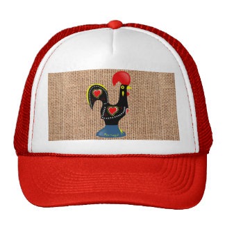 Cute Rooster Barcelos Portugal Burlap background Cap