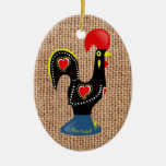 Cute Rooster Barcelos Portugal Burlap background Ceramic Oval Decoration