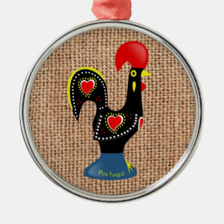 Cute Rooster Barcelos Portugal Burlap background Christmas Ornament