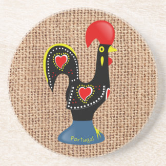 Cute Rooster Barcelos Portugal Burlap background Coaster
