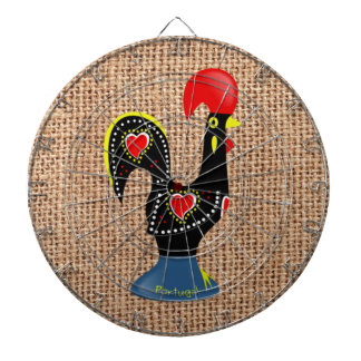 Cute Rooster Barcelos Portugal Burlap background Dartboard With Darts