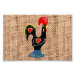 Cute Rooster Barcelos Portugal Burlap background Art Photo