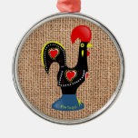 Cute Rooster Barcelos Portugal Burlap background Silver-Colored Round Decoration
