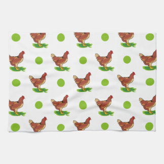 Cute Rooster, Chicken, Green Polka Dots Tea Towel
