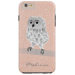 Cute Rose Gold Bling Owl Monogram Tough iPhone 6 Plus Case