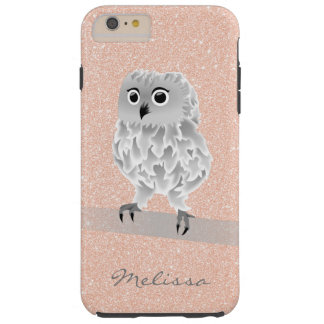 Cute Rose Gold Bling Owl Monogram Tough iPhone 6 Plus Case
