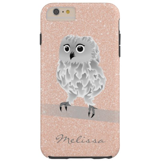 Cute Rose Gold Bling Owl Monogram Tough iPhone