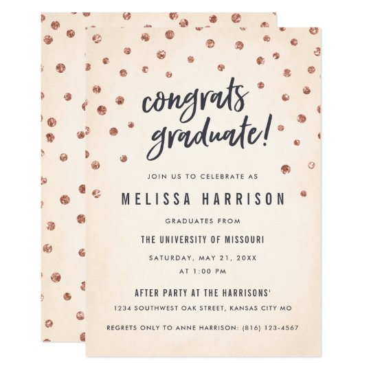 Cute Rose Gold Polka Dot Graduation Invitations