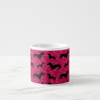Cute rose pink dachshund glitter pattern espresso cup
