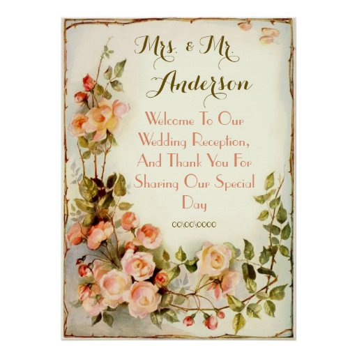 Cute roses welcome poster