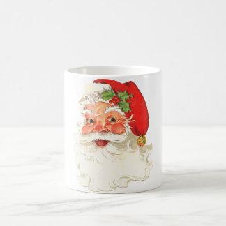 Cute Rosy Cheeks Retro Santa Basic White Mug
