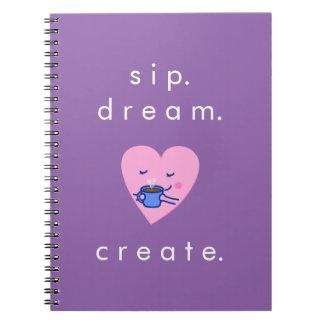 Cute Rosy Coffee Heart (sip dream create) Notebook
