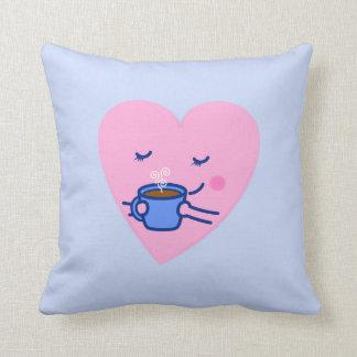Cute Rosy Coffee Heart Throw Pillow