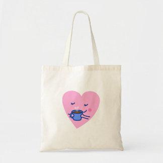Cute Rosy Coffee Heart Tote Bag