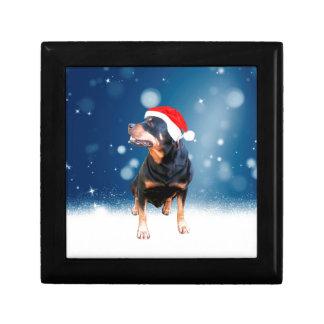 Cute Rottweiler Dog Christmas Santa Hat Snow Stars Small Square Gift Box