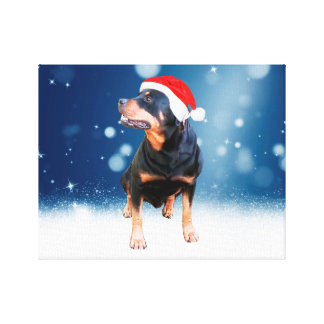 Cute Rottweiler Dog Christmas Santa Hat Snow Stars Stretched Canvas Print