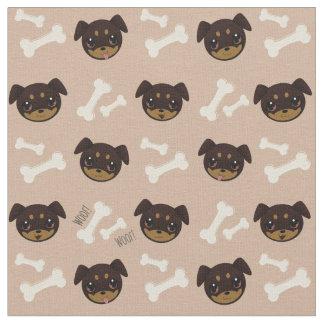 Cute Rottweiler Puppy & Bones Pattern Fabric