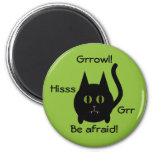 Cute round black kitty cat for Halloween Magnet