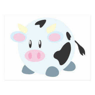 Cute Round Cow Postcard
