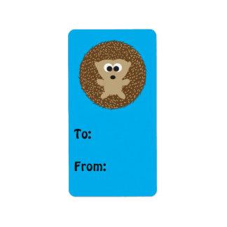 Cute Round Hedgehog Address Label