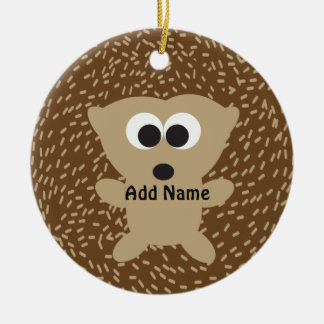 Cute Round Hedgehog Christmas Ornament