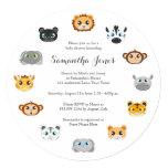 Cute Round Jungle Animal Theme Baby Shower Invites