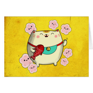 Cute Round Maneki Neko Cat Card