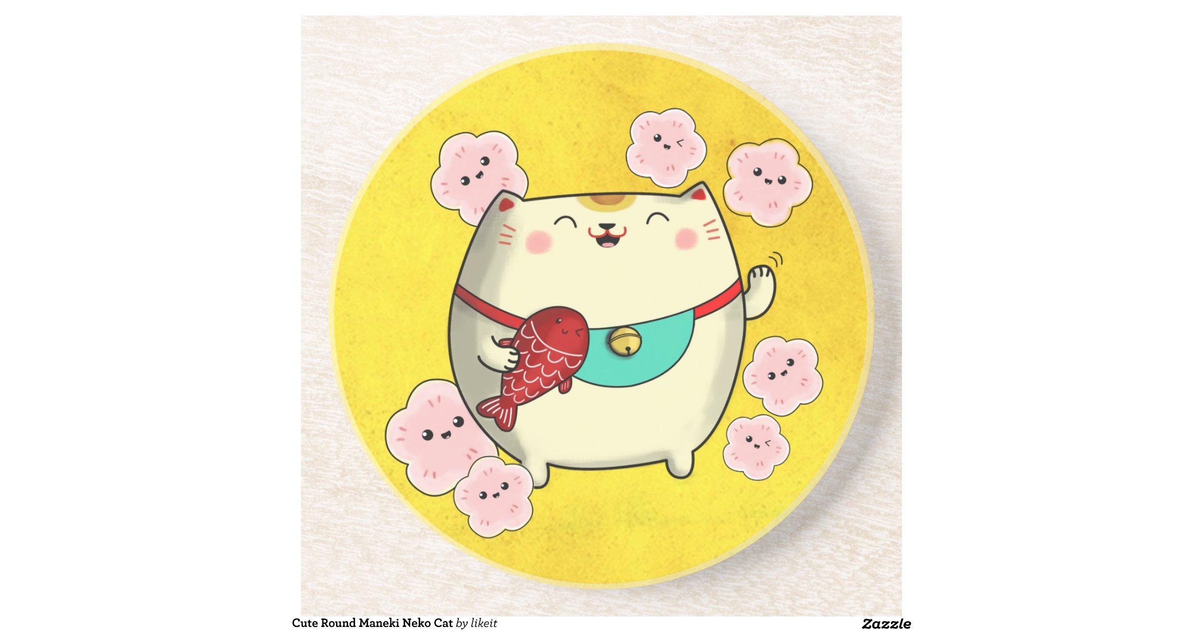 Cute Round Maneki Neko Cat Drink Coasters Zazzle
